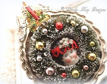 Bottle Brush Wreath Ornament China Doll Face  Assemblage Art Wall Hanging One-of-a-Kind Mixed Media 3D Picture