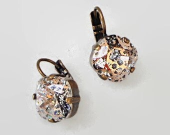 Swarovski crystal 12mm fancy square stone leverabck earrings rose patina,antique brass setting,new season Venice effect stones