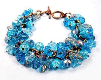 Flower Charm Bracelet, Blue Bouquet and Brass, Beaded Cha Cha Bracelet, FREE Shipping U.S.