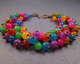 Copper Cha Cha Bracelet, Rainbow Colors, Glass Beaded Bracelet, FREE Shipping U.S.