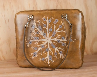 Oversize Leather Purse - Handmade Stewardess Bag in the Winter Pattern with Branches and Flowers - Purple-blue and antique brown