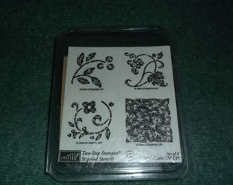 Stippled Stencils Stampin Up Rubber stamps set of 4