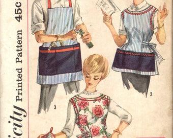 Simplicity 3206 APRONS 1950s Men's & Women's Cobbler Carpenter Kitchen Cook