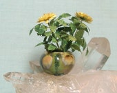 Miniature Bowl Vase with Incredible Glaze and Yellow Dahlia in 1:12 Dollhouse Scale