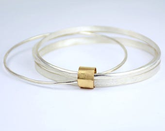 Stacking Bangle Bracelets wrapped in 14 karat gold - Silver Stackers - Hand Crafted Fashion Jewelry for Her - Set of Bangle Bracelets - 1081