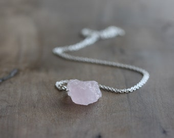 Raw morganite necklace - rough morganite crystal necklace (pink aquamarine), sterling silver chain - March birthstone - morganite jewelry