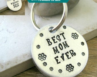 Personalized Best Mom Ever keychain, Personalized Mother's Day gift, gift for Mom, Personalized Mom gift, kids' names on back, sturdy disc,