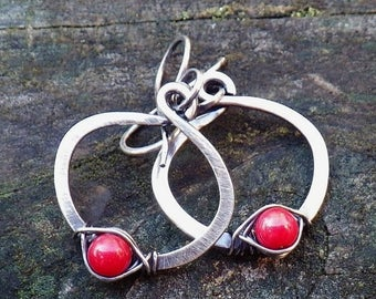 20% OFF TODAY Red coral sterling silver hoop dangle earrings