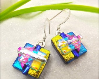 Dichroic fused glass earrings, blue earrings, Fused glass jewelry, Dichroic beads, Hana Sakura, Glass fusion, Unusual earrings, handmade