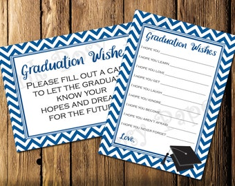 Printable Royal Blue Graduation Wishes- Instant Download