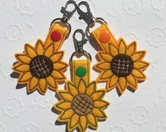 Embroidered Sunflower Keychain, Keyfob, Summer