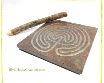 LABYRINTH ART TILE, Art Coaster - Hand Carved Slate Meditation Stone