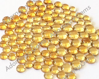 Gemstone Cabochon Citrine 4mm Round FOUR CABS