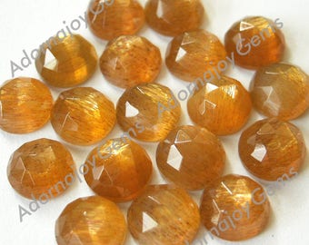 Gemstone Cabochon Golden Moonstone 5mm Rose Cut FOR TWO