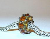 Luccicare Lampwork Bead - Amber Jewel -  Lined with Sterling Silver