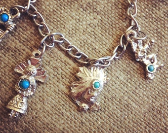 1960s Native American Charm Bracelet - Turquoise Charms
