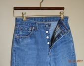 SALE 501 Levi's Jeans For Women ,Made USA Fly Button Faded worn Blue Denim sz 30 X 30 ,80's 90's Grunge,Hip Exposing