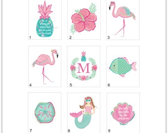 Flamingo Art, Pineapple Art, Flamingo Print, Decor, Palm leaves Decor, Art Print for Tropical Bedding, Girls Decor, 8 x 10 Personalized