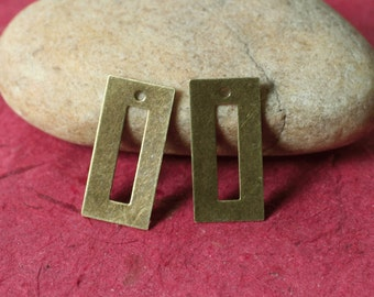 Antique brass rectangle drop dangle charm size 24x10mm, 4 pcs (item ID XW03456ABP)