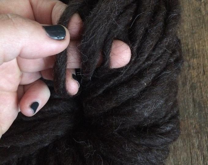 Espresso brown handspun yarn, 46 yards, bulky weight handspun, undyed brown wool yarn, rustic brown art yarn, suri llama, llama yarn