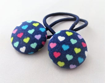 Mini Rainbow Hearts - Ponytail holders - fabric covered button hair ties