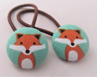 Fancy Foxes on Teal - Ponytail holders - fabric covered button hair ties
