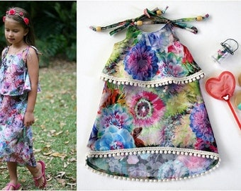 "2 Pattern GIRL/ DOLL BUNDLE Leilani Dress Girls Sundress Sizes 1-12 & 18"" Inch Doll Pattern Overlay Ruffle High Low Hem P D F Sewing Pattern"