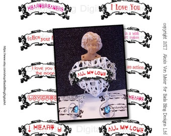 Valentine banners, Valentine collage sheet ... INSTANT  DIGITAL DOWNLOAD at Checkout, Valentine's day, love, hearts, mixed media art