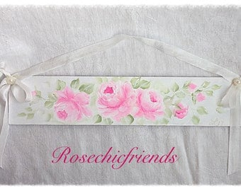 White Plaque Sign Shabby Chic Hand Painted Pink Roses ECS sct schteam SVFTeam