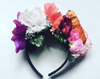Flower Crown Floral Head Dress Head Band tiger Animal zoo Toy Festival Hair