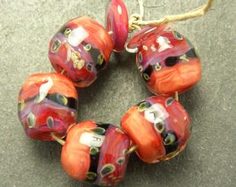 CrazyCatGlass Lampwork Boro Glass Beads Handmade Mango Tango Stones