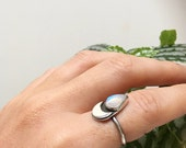The Luna Goddess Ring - made to order, choose your size // moonstone and recycled sterling silver 925