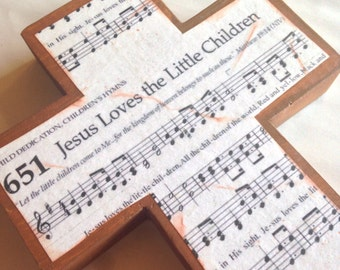 Jesus Loves lThe Little Children Wood Wall Hymnal Cross MADE TO ORDER