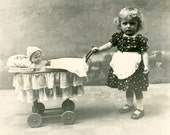 vintage 1950 Little Girl Costume Mommy APron Pushes Doll in Cart