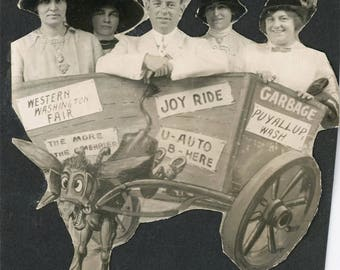 vintage photo 1919 WOmen Man All Ride Arcade Donkey Cart Western WAshington Fair Cut out