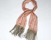Lightweight fringed shawl, Womens striped scarf with leather fringes, Wide orange striped shawl, Womens accessories, Spring fashion, MALAM