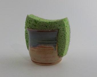 Stoneware Sponge Holder - Ceramic Sponge Drying Bowl - Napkin Caddy - Kitchen Essential - Ready to Ship - Shino and Mossy Blue Green h450