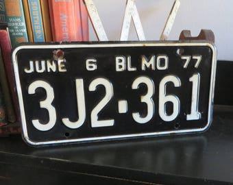 Vintage 1977 Missouri Black and White License Plate June