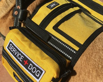 Yellow CozyHorse Service Dog Harness Vest, Backpack style vest made to fit a Harness; Guide, Mobility, Assistance or similar type Harness