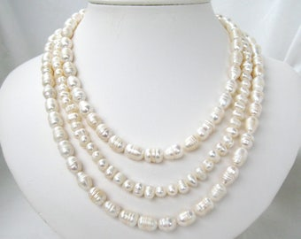 3 Strand Pearl Necklace, White Mixed Freshwater Pearl Necklace, Wedding Jewelry Light Ivory Pearls Silver Leaf Clasp, Handmade Lucy's Sister
