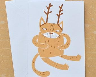 Santa's Cat - Screenprinted Card