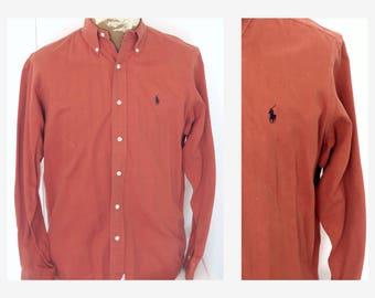 Ralph Lauren Polo Oxford Shirt Button Down  Mens  Copper Sz M  Long Sleeve Cotton Shirt