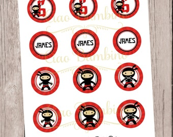 PRINTABLE Ninja Cupcake Toppers / Print Your Own Personalized Cupcake Toppers at Home / Red and Black Ninja Boys and Girls / You Print