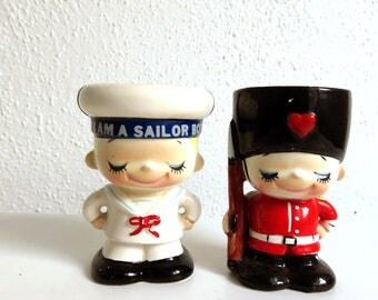 2 Vintage Ceramic Figural Egg Holder Cups, Cute Figurines, Sailor and Queens' Guard, Kitchen Decor, Small Succulent planter, Kitchenware Set