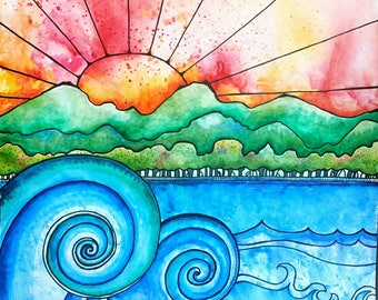 "Original Art  Beach, waves, surf, sunset, sunrise, ocean, watercolor, landscape  ""In the Red"""