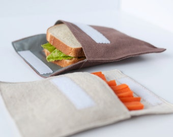 Hemp sandwich/snack bag set with velcro flap--FREE SHIPPING