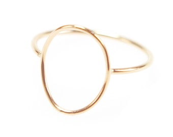 Thin Gold Circle Ring, Gold Wire Open Circle, Open Oval Ring, Minimal Stacking Ring, Dainty Jewelry - Shaped Oval Ring