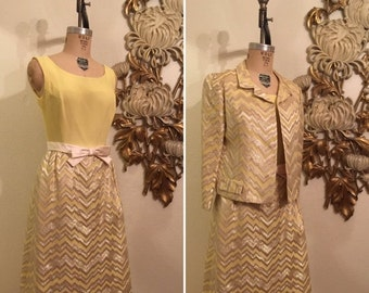 Fall sale 1960s cocktail set 2 piece dress set dress and jacket chevron print dress yellow dress jackie o dress