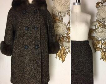 Fall sale 1950s coat wool coat size medium coat and skirt mad men coat vintage coat 38 bust coat with fur