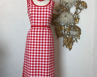 1960s dress checkered dress red and white vintage dress picnic dress maxi dress size medium large